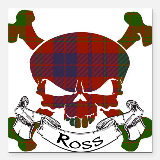 "Ross Tartan Skull Square Car Magnet 3"" x 3"""