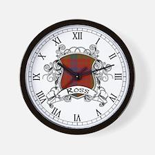 Ross Tartan Shield Wall Clock