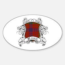 Ross Tartan Shield Sticker (Oval)