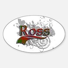 Ross Tartan Grunge Sticker (Oval)