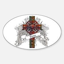 Ross Tartan Cross Sticker (Oval)