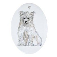 Chinese Crested Powder Puff Oval Ornament