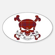 Rose Tartan Skull Sticker (Oval)