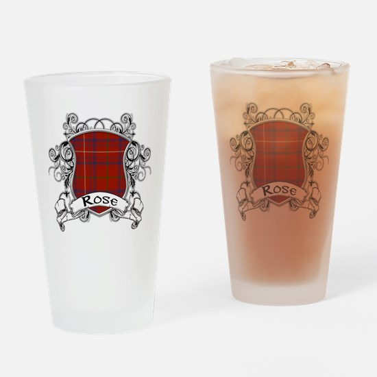 Rose Tartan Shield Drinking Glass