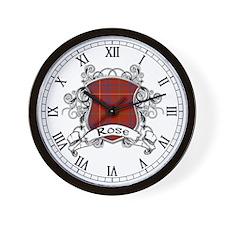 Rose Tartan Shield Wall Clock