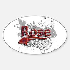 Rose Tartan Grunge Sticker (Oval)