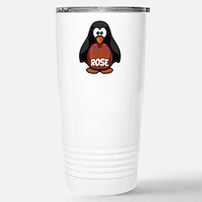 Rose Tartan Penguin Stainless Steel Travel Mug