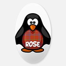 Rose Tartan Penguin Sticker (Oval)