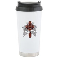 Rose Tartan Cross Travel Mug