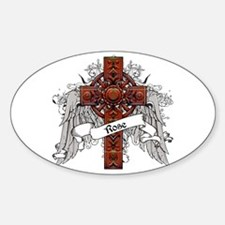 Rose Tartan Cross Sticker (Oval)