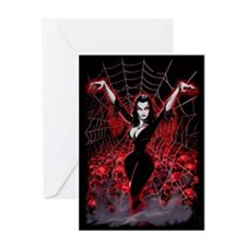 Vampira Spider Web Gothic Greeting Card