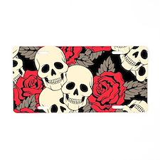 Flowers and Skulls Aluminum License Plate