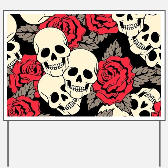 Flowers and Skulls Yard Sign