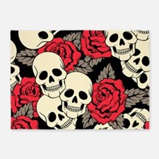 Flowers and Skulls 5'x7'Area Rug