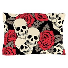 Flowers and Skulls Pillow Case