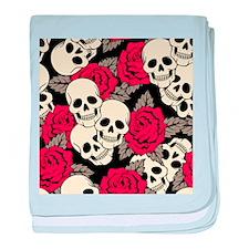 Flowers and Skulls baby blanket
