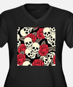 Flowers and Skulls Plus Size T-Shirt