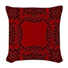 Art Nouveau Red Burgundy Woven Throw Pillow