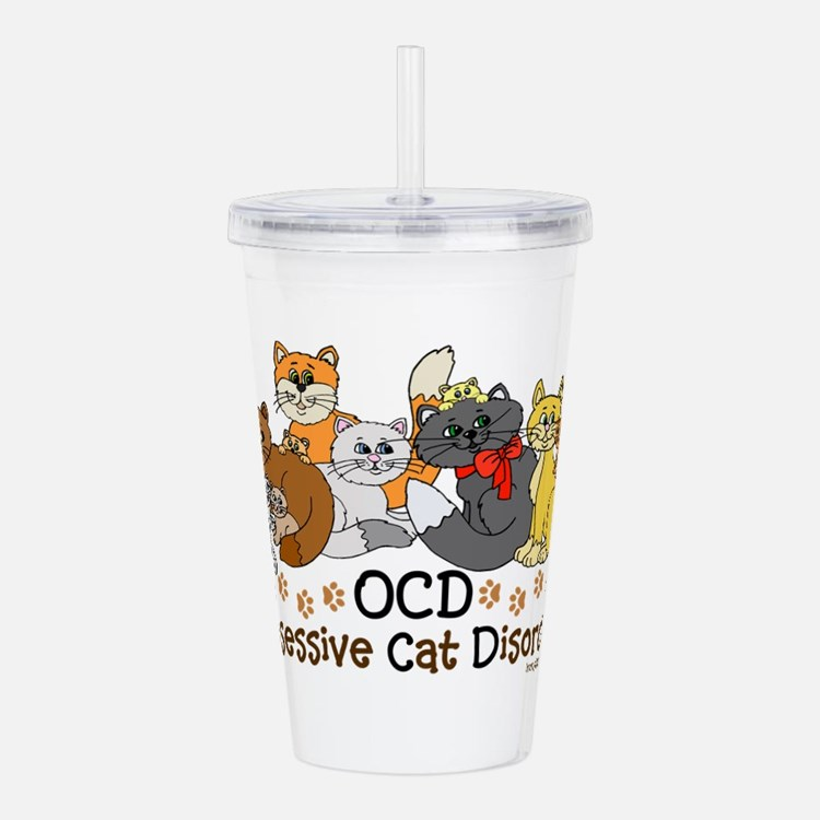 Cute Ocd obsessive cat disorder Acrylic Double-wall Tumbler
