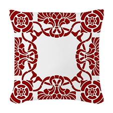 Art Nouveau Red White Woven Throw Pillow