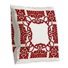 Art Nouveau Red White Burlap Throw Pillow