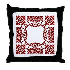 Art Nouveau Red White Throw Pillow