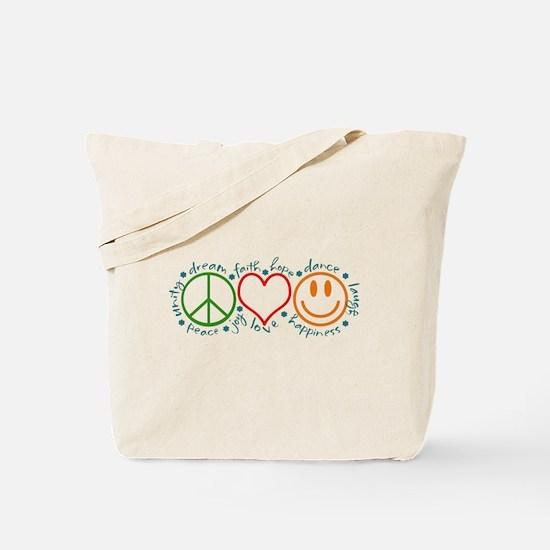 Cute Peace love happiness Tote Bag