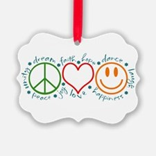Cute Peace love happiness Ornament