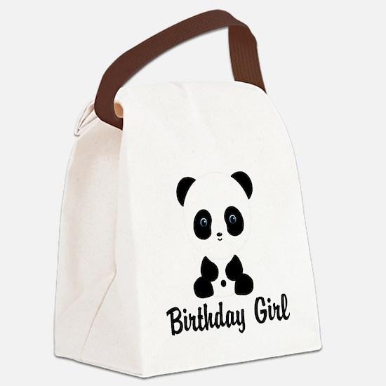 Birthday Girl Panda Bear Canvas Lunch Bag