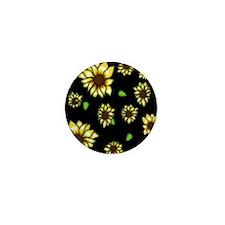 Sunflower on Black Mini Button