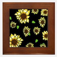 Sunflower on Black Framed Tile