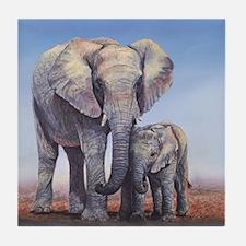 Elephants Mom Baby Tile Coaster