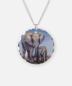Elephants Mom Baby Necklace