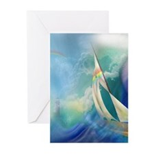 Sailboat Waterspout Greeting Cards