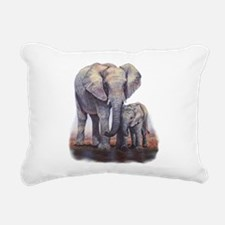 Elephants Mom Baby Rectangular Canvas Pillow
