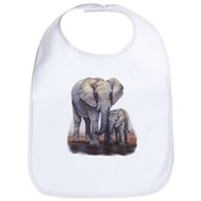 Elephants Mom Baby Bib