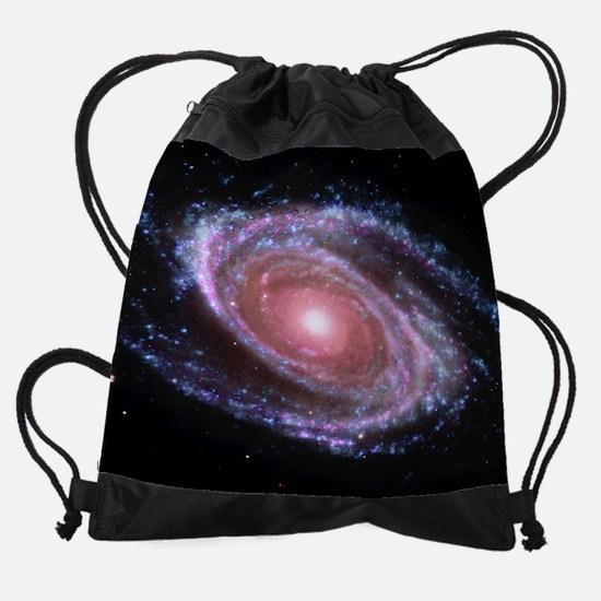 Pink Spiral Galaxy Drawstring Bag