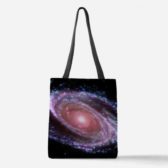 Pink Spiral Galaxy Polyester Tote Bag