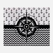 Nautical Anchor And Compass Pattern Throw Blanket