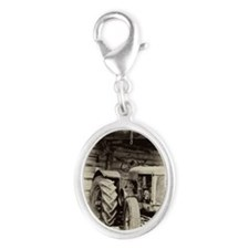 Rusty Old Tractors Silver Oval Charm