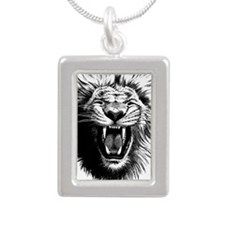 Lion drawing Silver Portrait Necklace