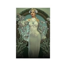 Art Nouveau White Lady Magnets