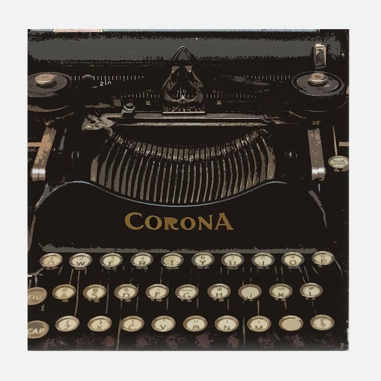 Cute Typewriters Tile Coaster