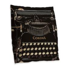 Funny Typewriter Burlap Throw Pillow