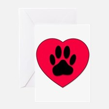 Red Heart With Dog Paw Print Greeting Cards