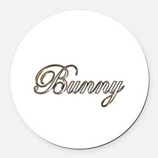 Gold Bunny Round Car Magnet