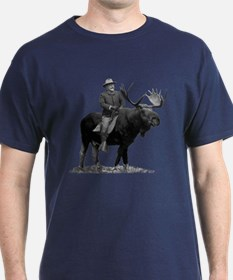 Teddy Roosevelt Riding A Bull Moose T-Shirt