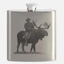 Teddy Roosevelt Riding A Bull Moose Flask