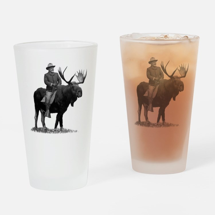 Teddy Roosevelt Riding A Bull Moose Drinking Glass