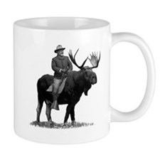 Teddy Roosevelt Riding A Bull Moose Mugs